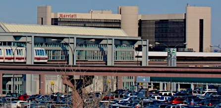 A Photo Of Newark Airtrain With The Marriot Hotel In Background